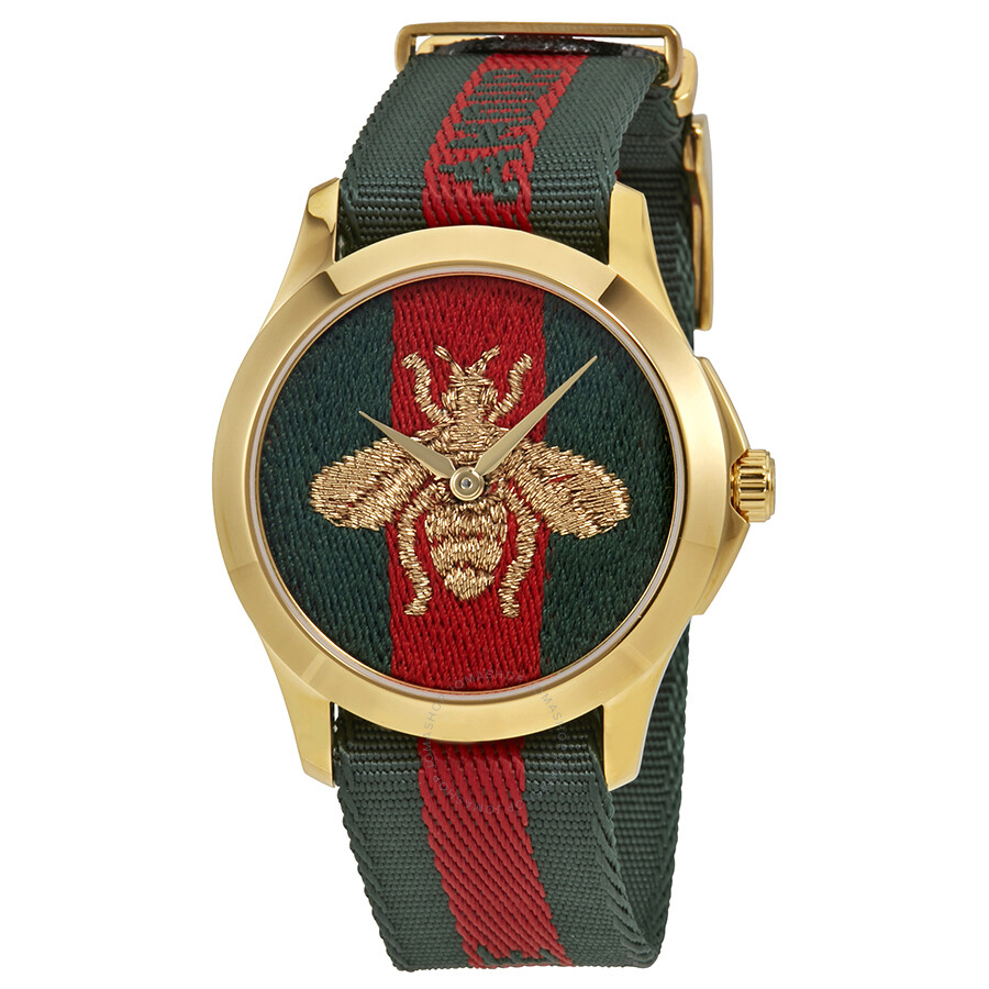 fb0f2a652c4 Gucci Swiss Le Marche Des Merveilles Green   Red Striped Nylon Watch  YA126487 ...