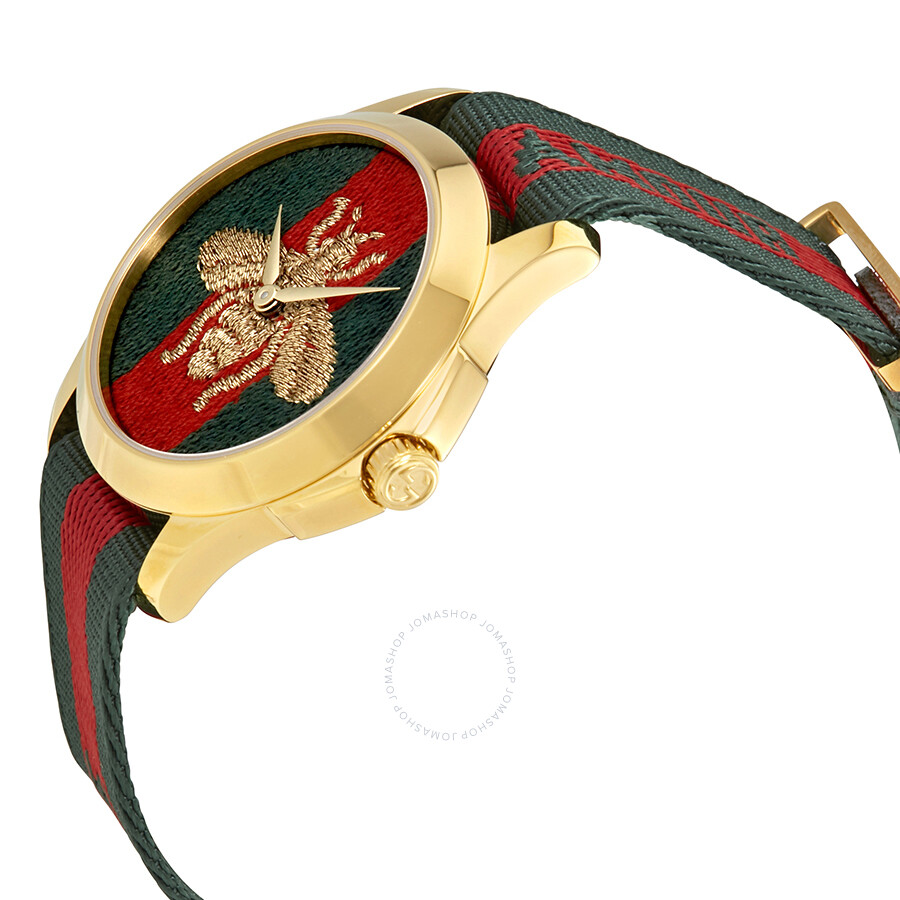 869ab09d4ca ... Gucci Swiss Le Marche Des Merveilles Green   Red Striped Nylon Watch  YA126487 ...