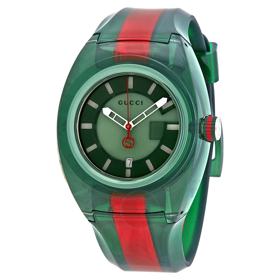 Gucci sync green dial men 39 s two tone rubber watch ya137113 gucci watches jomashop for Rubber watches