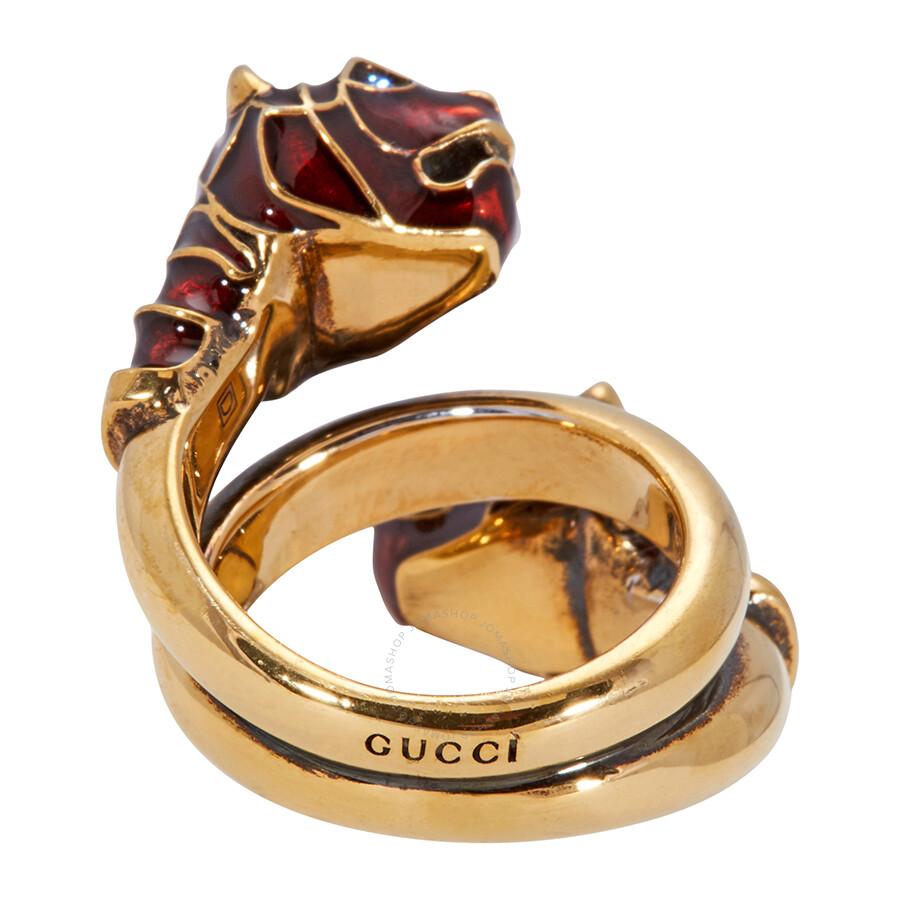 e5719f2e2 Gucci Tiger Head Ring with Enamel-Size 10 - Gucci - Ladies Jewelry ...