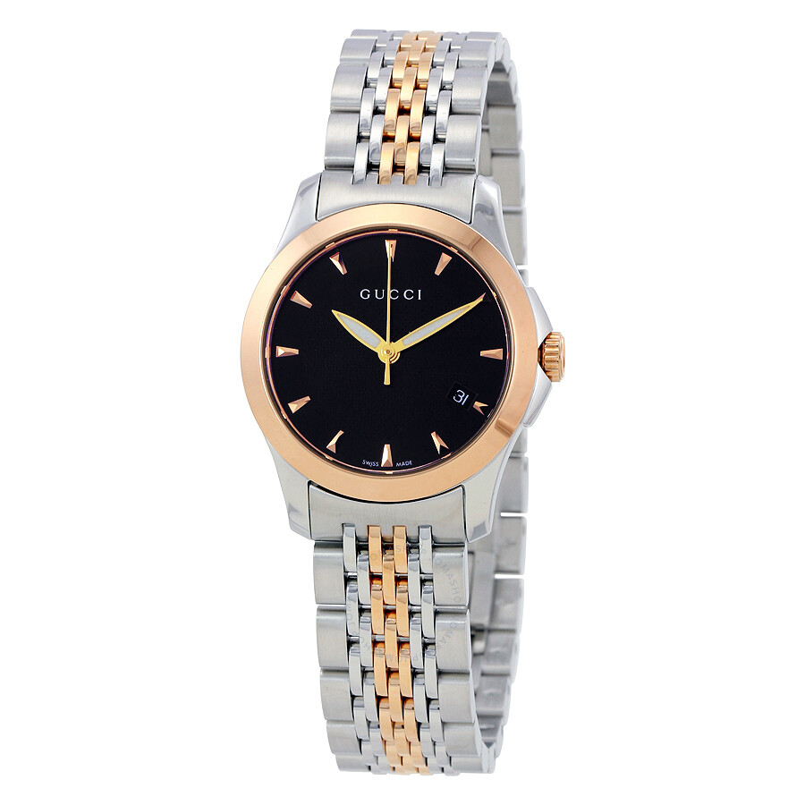 Gucci Timeless Black Dial Two,tone Stainless Steel Ladies Watch YA126512