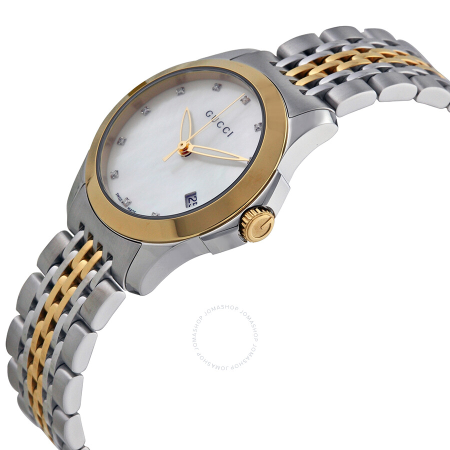 2e412f3bd64 Gucci Timeless Diamond Two-tone Ladies Watch YA126513 - G-Timeless ...