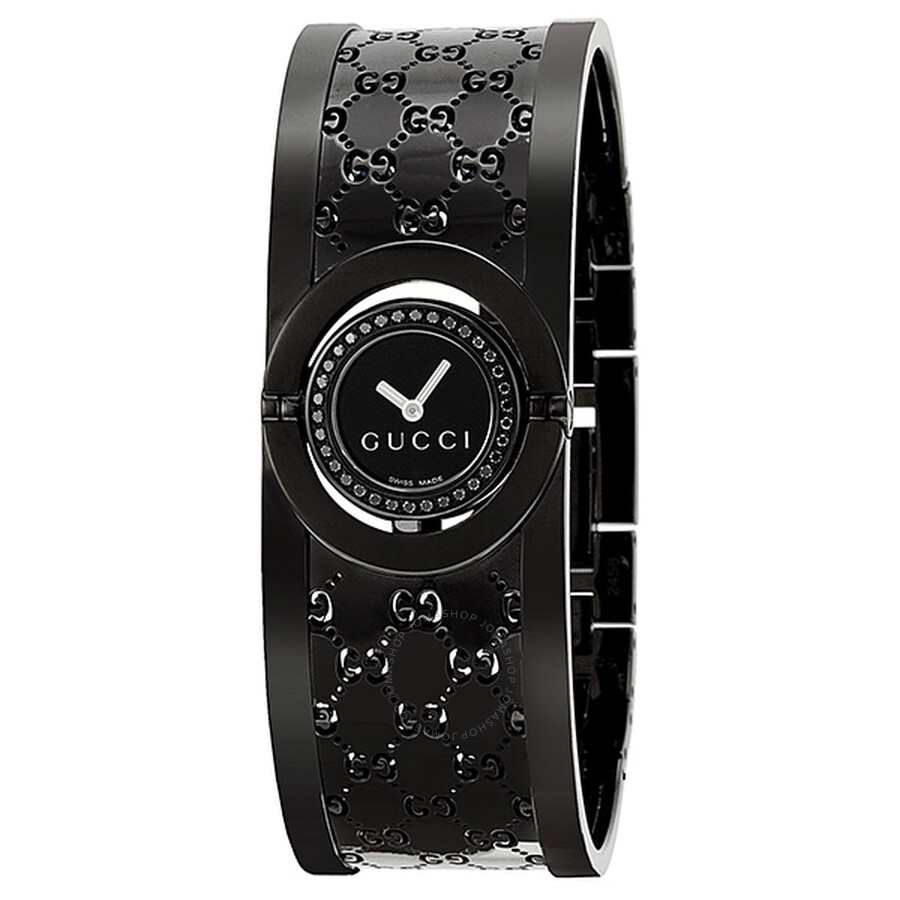e64c1653cb3 Gucci Twirl Black Dial Black Bangle Bracelet Ladies Watch YA112529 ...