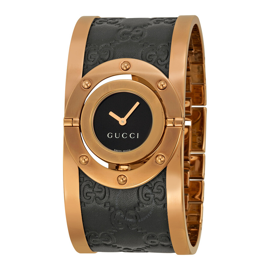 629fce950eb Gucci Twirl Black Dial Pink Gold PVD and Black Leather Ladies Watch YA112438  ...