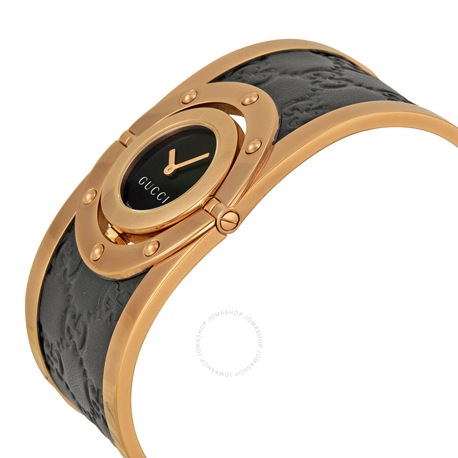 7792fd979de ... Gucci Twirl Black Dial Pink Gold PVD and Black Leather Ladies Watch  YA112438 ...