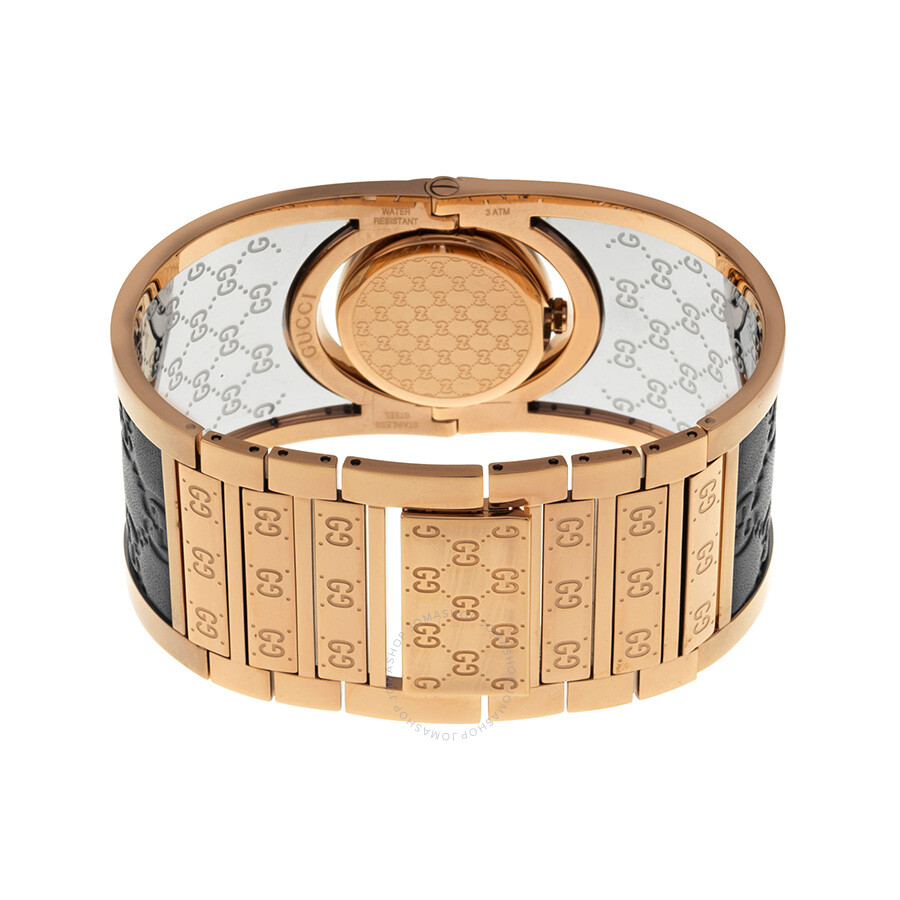 447916822b6 ... Gucci Twirl Black Dial Pink Gold PVD and Black Leather Ladies Watch  YA112438