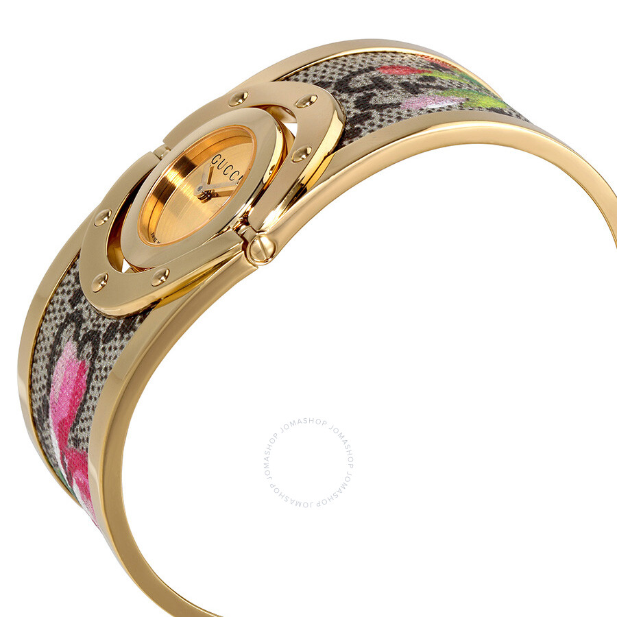 602881c9a7675 ... Gucci Twirl Bloom Gold Twirling Dial Gold-plated and Floral Ladies  Watch YA112443 ...