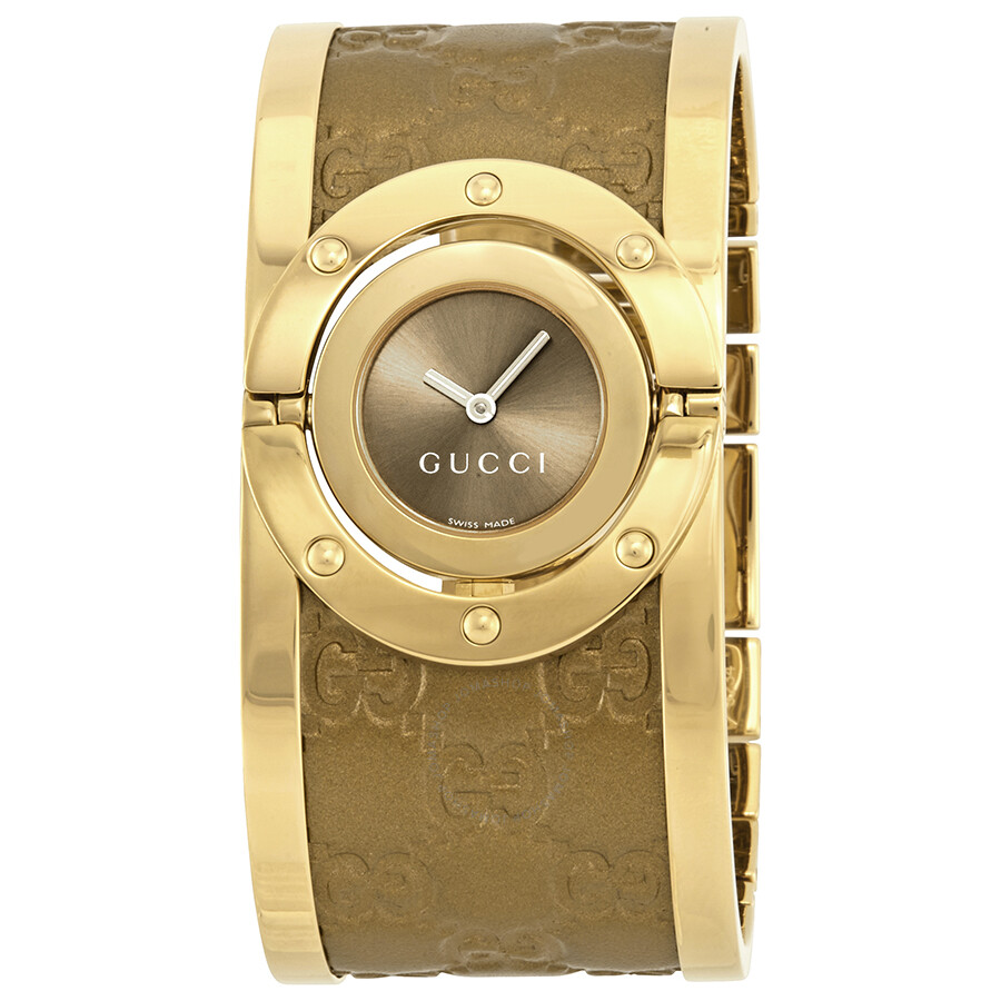 b60bae185ae Gucci Twirl Brown Dial Gold-tone Steel with Leather Bracelet Ladies Watch  YA112434