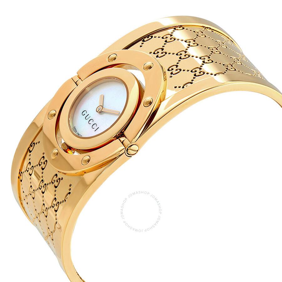 Gucci twirl g tone white dial ladies bangle watch ya112440 twirl gucci watches jomashop for Ladies bangle watch
