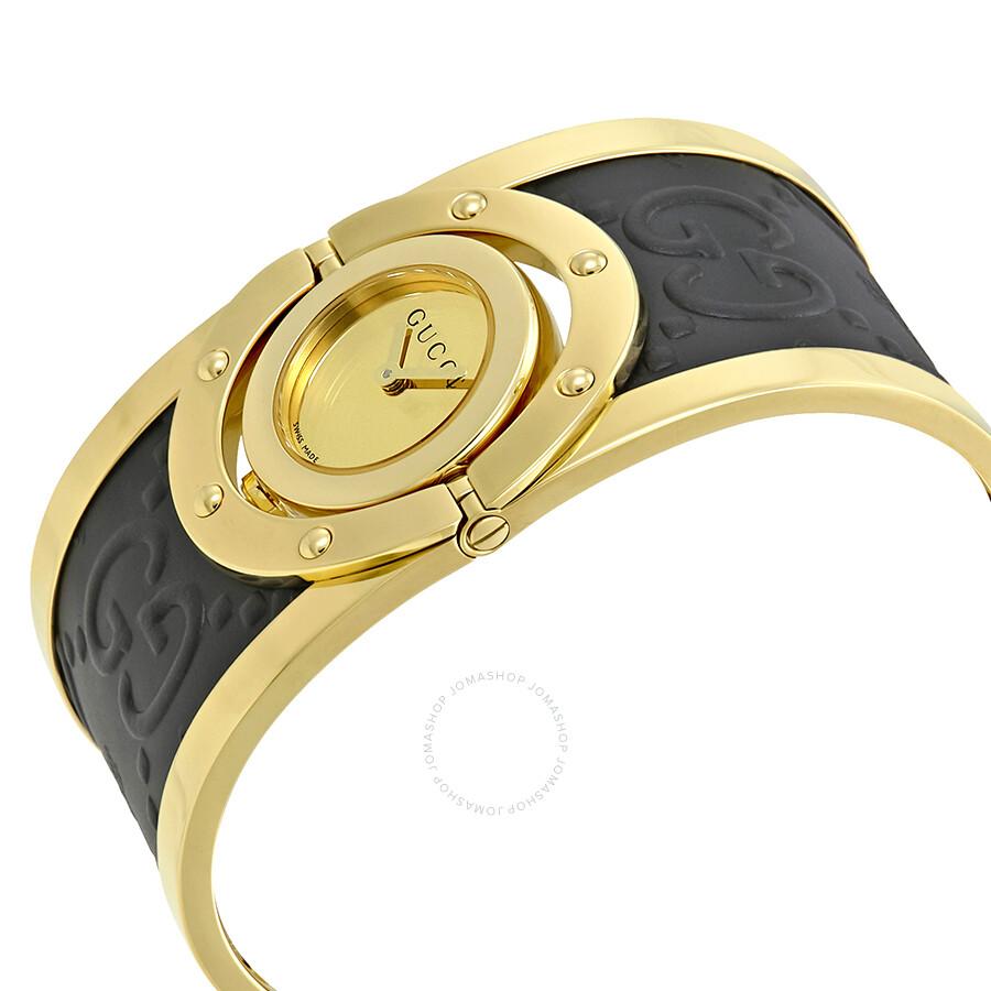 e43c7d2bcfc Gucci Twirl Gold Dial Ladies Two Tone Bangle Watch YA112444 - Twirl ...