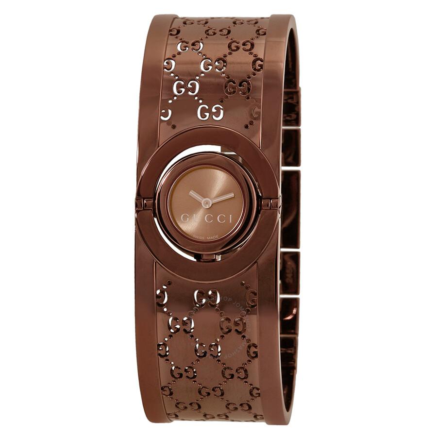 9d3ae08a992 Gucci Twirl Quartz Brown Dial Bangle Ladies Watch YA112532 - Twirl ...