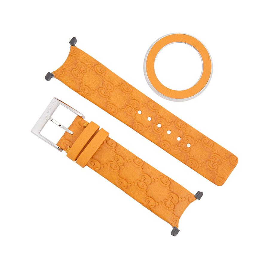 a9d6269df0e Gucci U-Play Medium Orange Leather Strap and Bezel Kit Item No. YFA50060