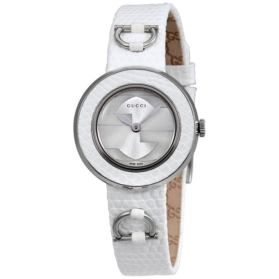 02c7cb8b2e5 Gucci U-Play Silver Dial Leather Ladies Watch YA129515 - U-Play ...