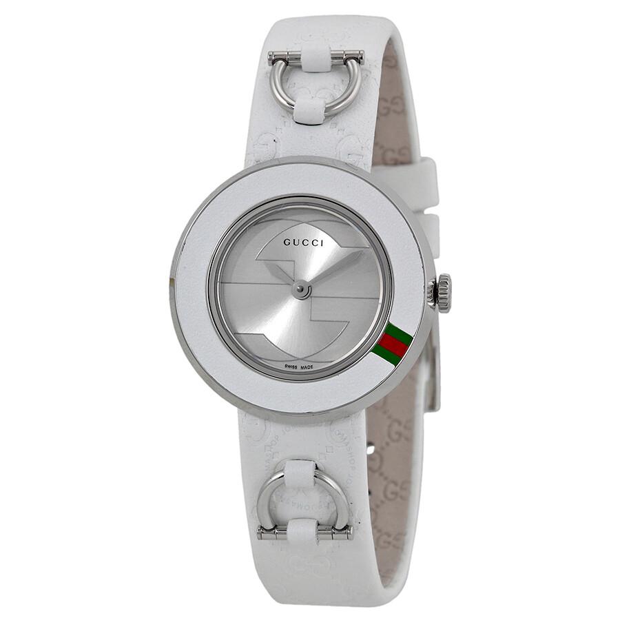 b6521432b9d Gucci U Play Silver Dial White Leather Strap Ladies Watch YA129509 ...