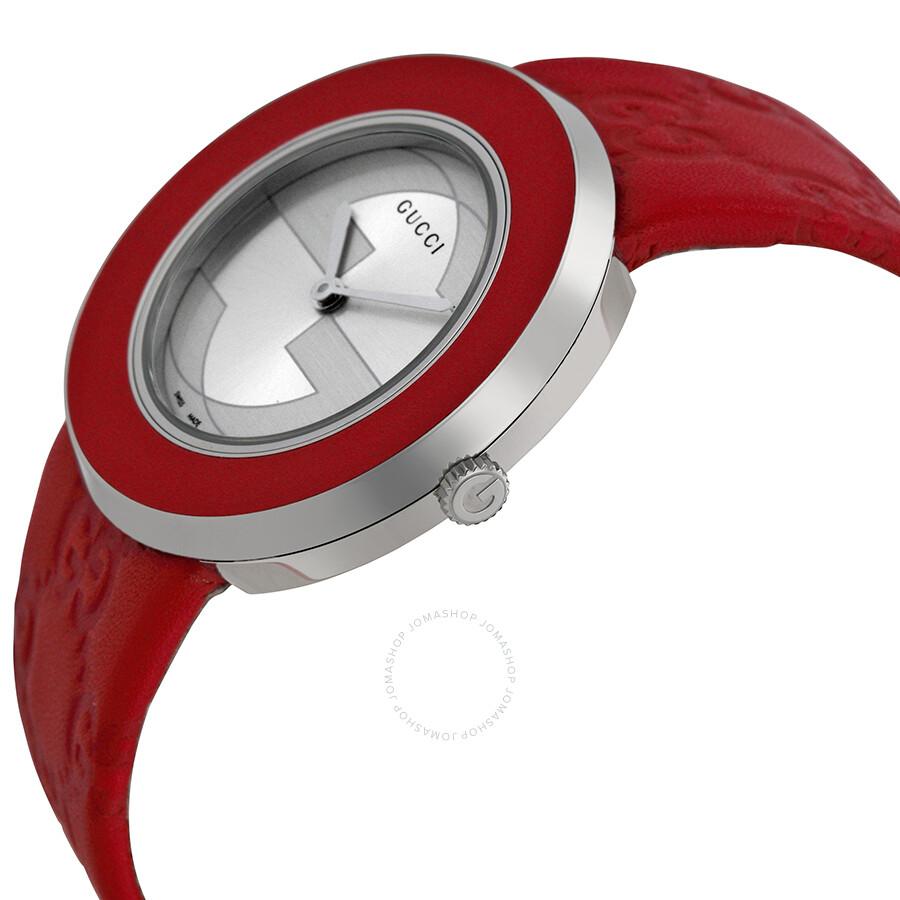 3bdb609b857 Gucci U-Play Silver Dial Red Leather Ladies Watch YA129421 - U-Play ...