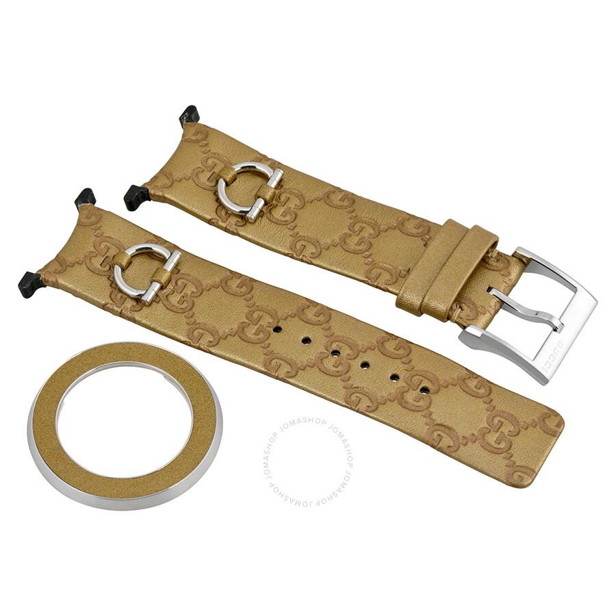 eb9ee29a1fd Gucci YFA50025 U-Play Kit 129 Medium Gold Leather Watch Strap and Matching  Bezel Item No. YFA50025