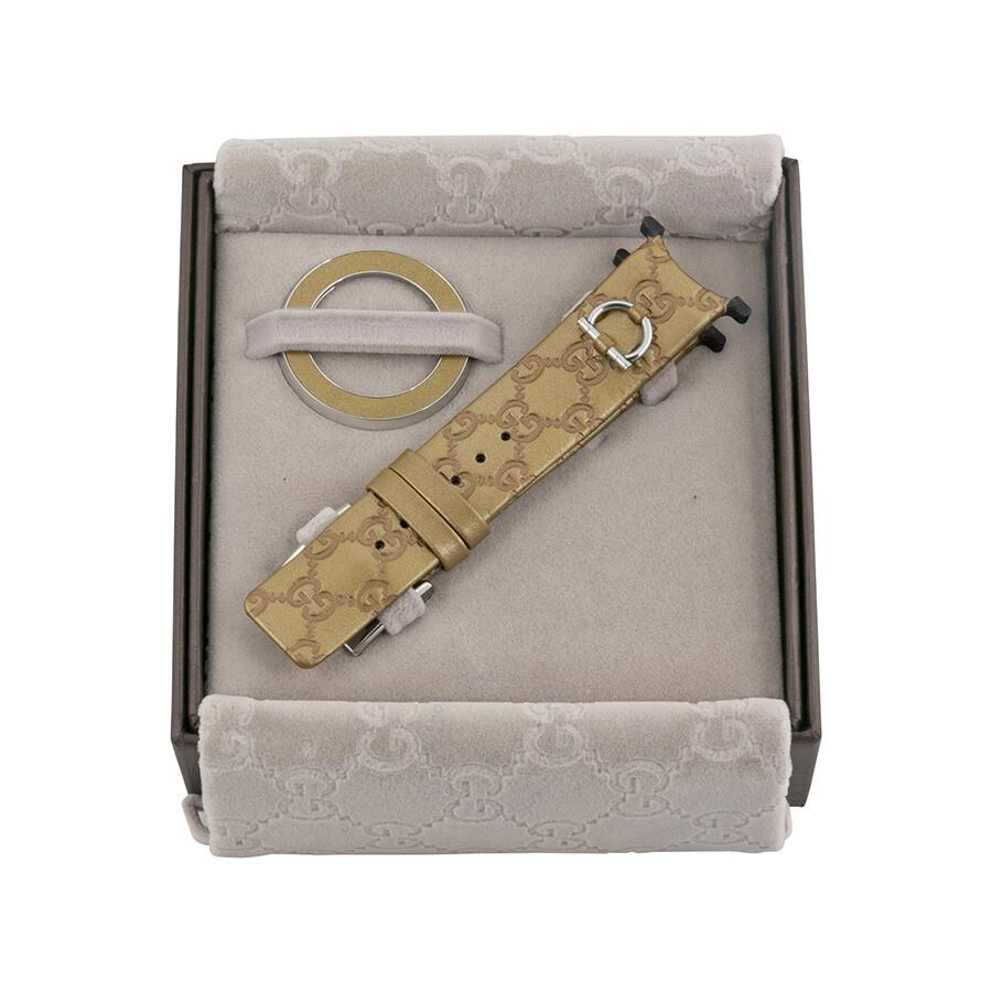 d626832964e ... Gucci YFA50025 U-Play Kit 129 Medium Gold Leather Watch Strap and  Matching Bezel ...