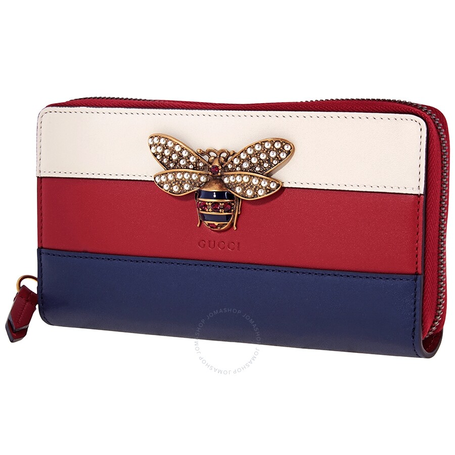 Gucci Zip Around Wallet Queen Margaret Red/White/Blue Gu Ape Os Zpard W/Bee