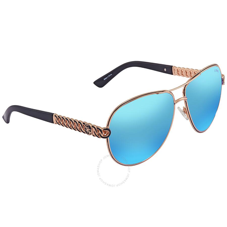 377451665 Guess Blue Mirror Aviator Sunglasses GU7404 28X 59 Item No. GU7404 28X 59
