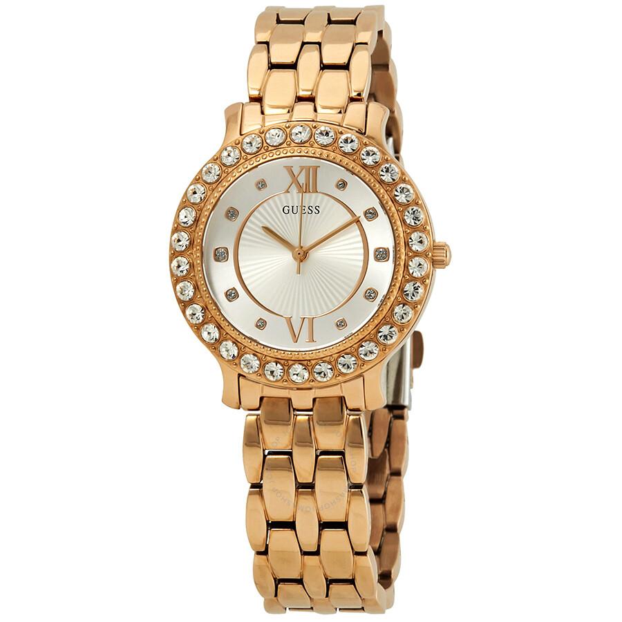 da2ef4951 Guess Blush Crystal Silver Dial Ladies Rose Gold-Tone Watch W1062L3 ...