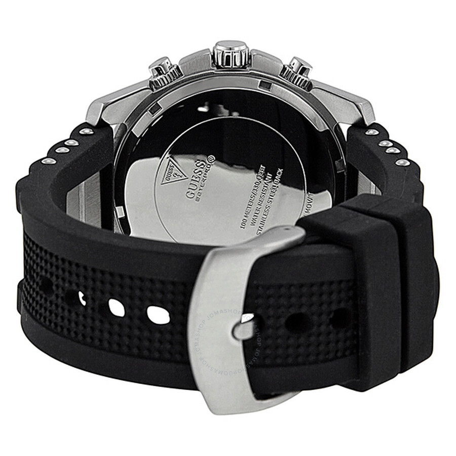 45cb6b4bf ... Guess Bold Chronograph Black Dial Black Silicone and Steel Men's Watch  U0167G1