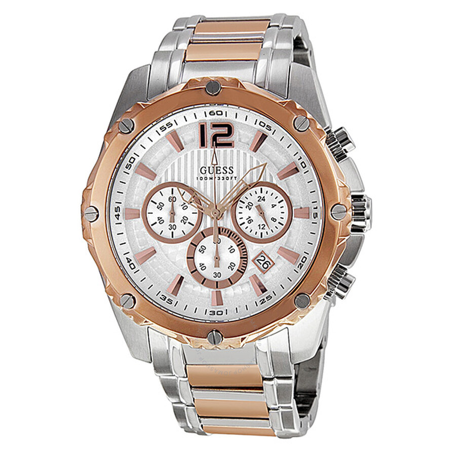 Guess Bold Chronograph Silver Dial Rose Gold-tone Men's ...
