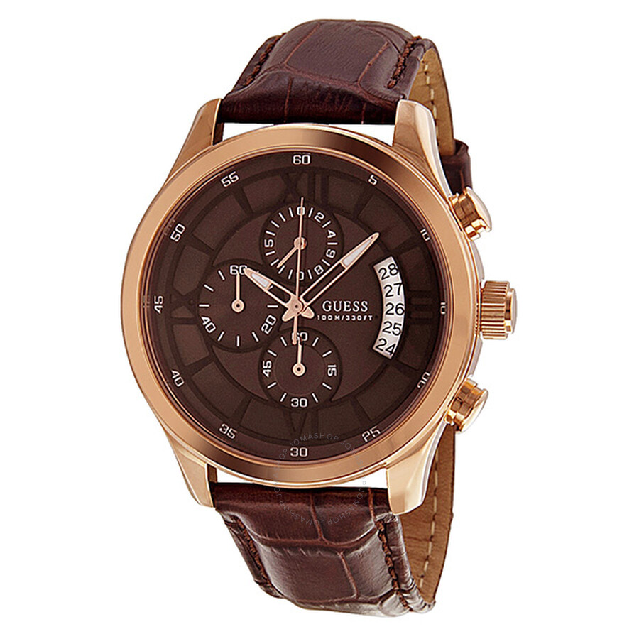 b45c9467e Guess Capitol Chronograph Brown Dial Rose Gold-tone Ladies Watch SU14504G1  ...