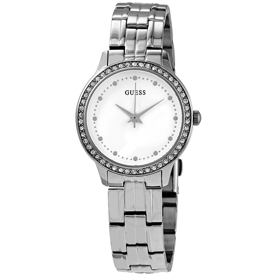 Guess Chelsea Quartz Crystal Silver Dial Ladies Watch W1209l1 Guess Watches Jomashop