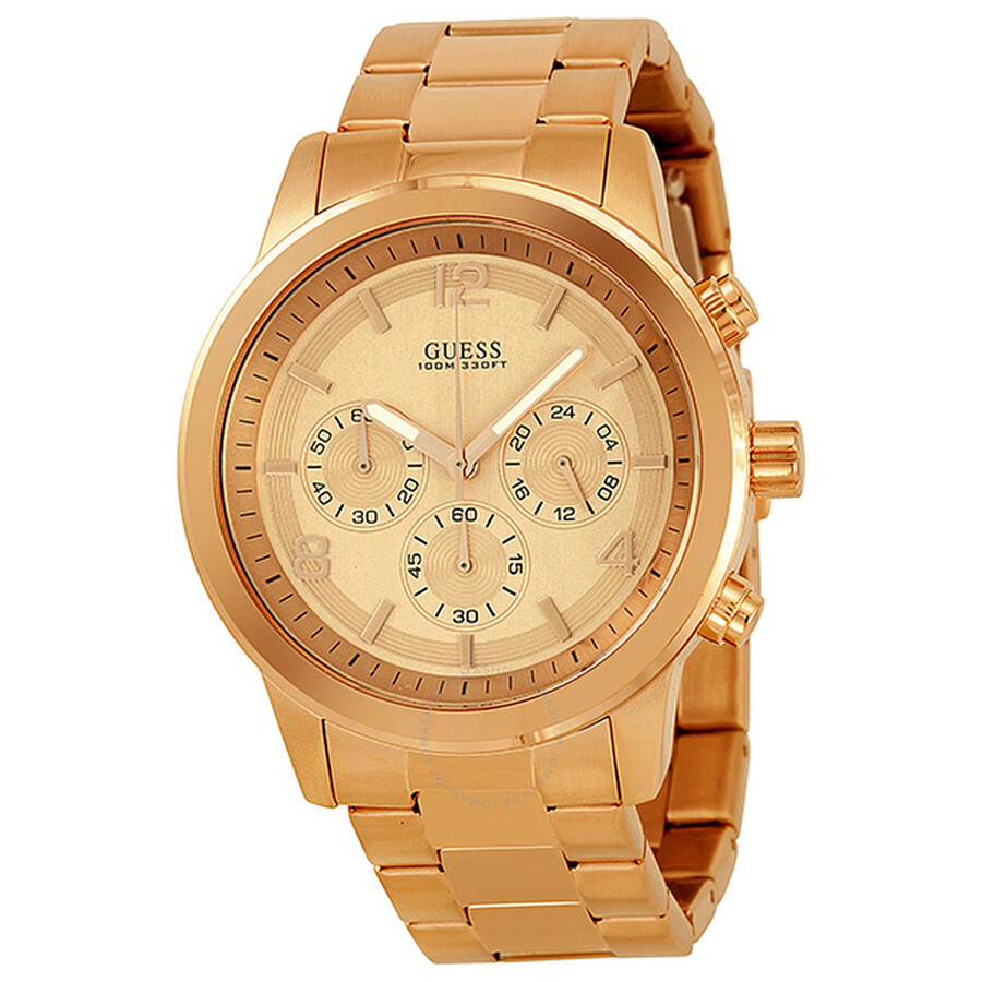 guess chronograph rose gold tone stainless steel men s watch guess chronograph rose gold tone stainless steel men s watch u16003g1