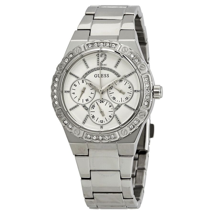 7db528a33f6 Guess Envy Crystal Silver Dial Ladies Watch W0845L1 - Guess ...