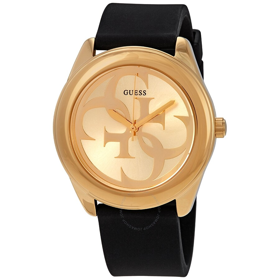 790dedf7080 Guess G-Twist Gold Dial Black Leather Ladies Watch W0911L3