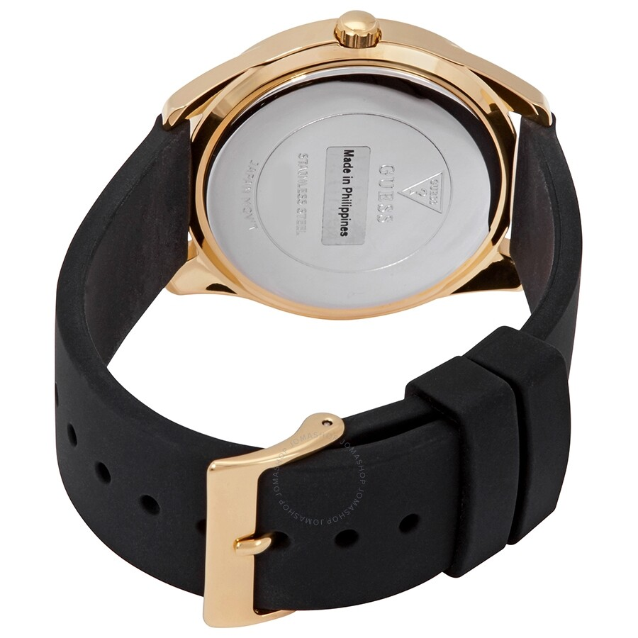 Guess G Twist Gold Dial Black Leather Ladies Watch W0911l3