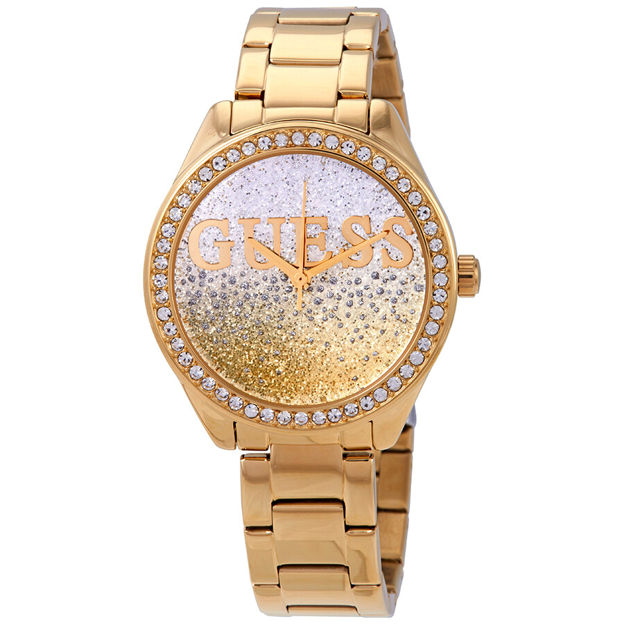 Guess Glitter Girl Gold and Silver Glitter Dial Ladies ...