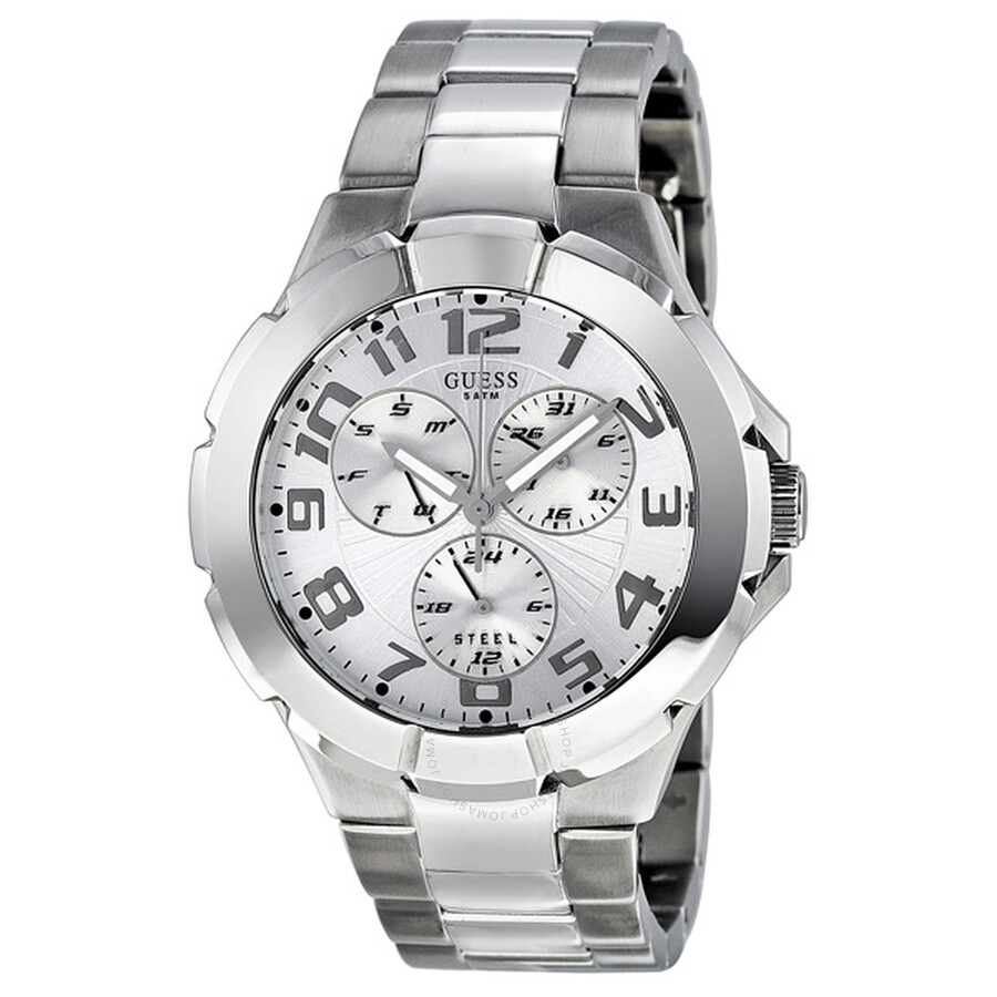 Guess men 39 s rush silver tone case and bracelet watch i90199g1 guess watches jomashop for Watches guess