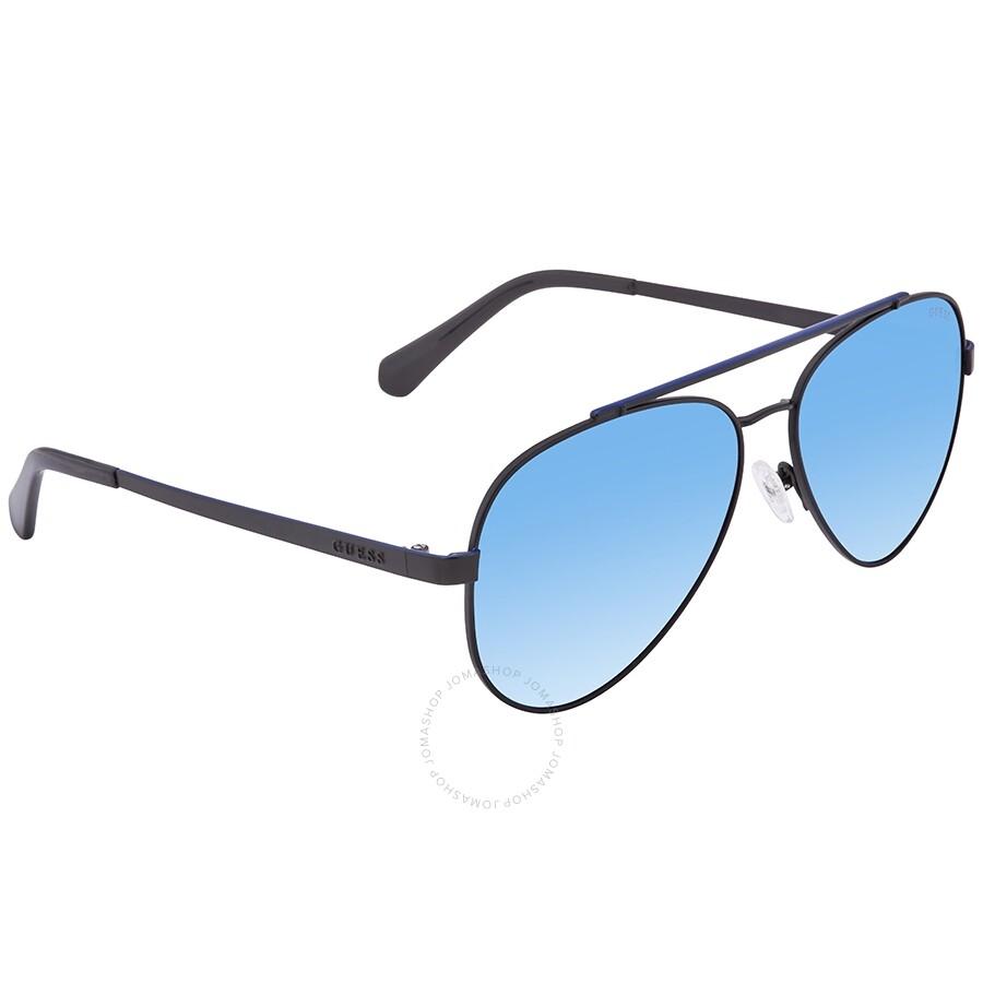 f8550ffa1 Guess Mirrored Blue Aviator Unisex Sunglasses GU691802X59 - Guess ...