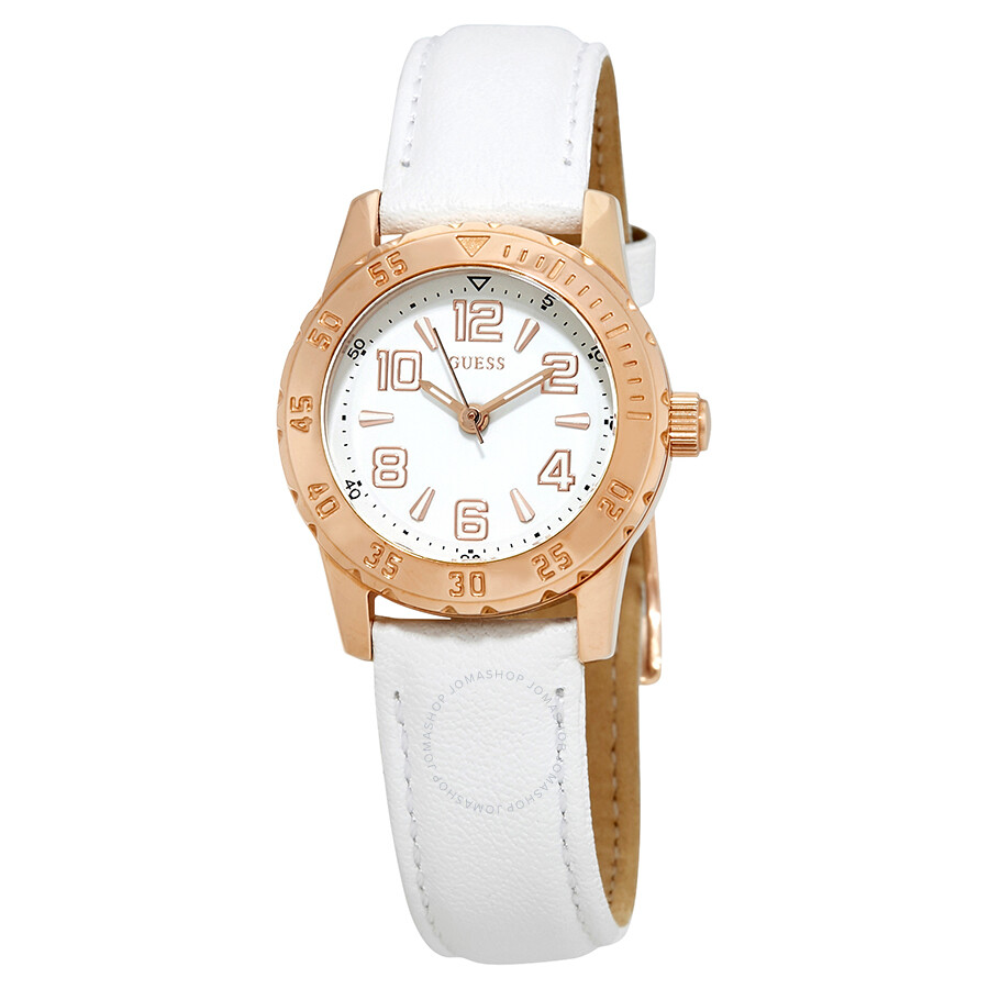 Guess Montre White Dial Ladies Leather Watch W0545L1 ...