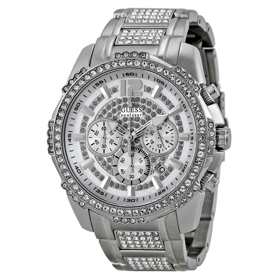 Guess multi function silver crystal pave dial stainless steel men 39 s watch u0291g1 watches for Crystal watches