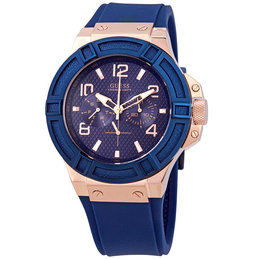 242e48b9d Guess Rigor Blue Dial Blue Silicone Men's Watch W0247G3 - Guess ...