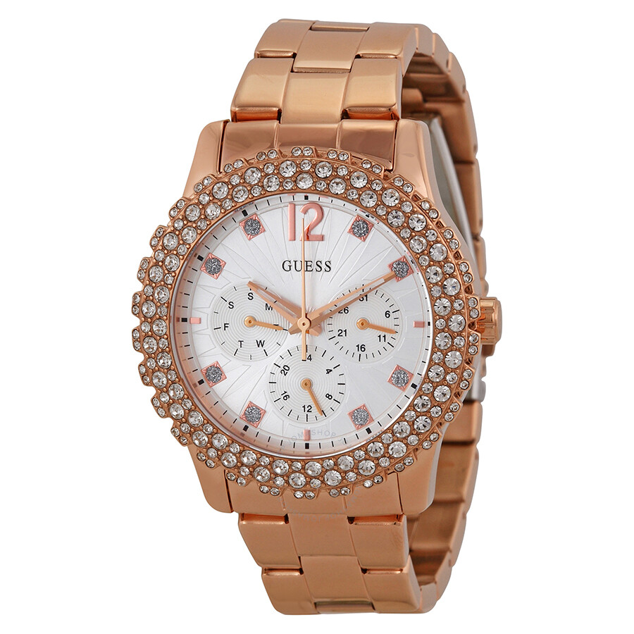 Guess Shimmering Multi-Function Silver Dial Rose Gold-tone ...