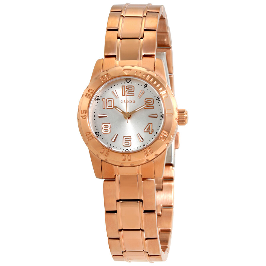 Guess Silver Dial Ladies Rose Gold-tone Watch W0572L4 ...