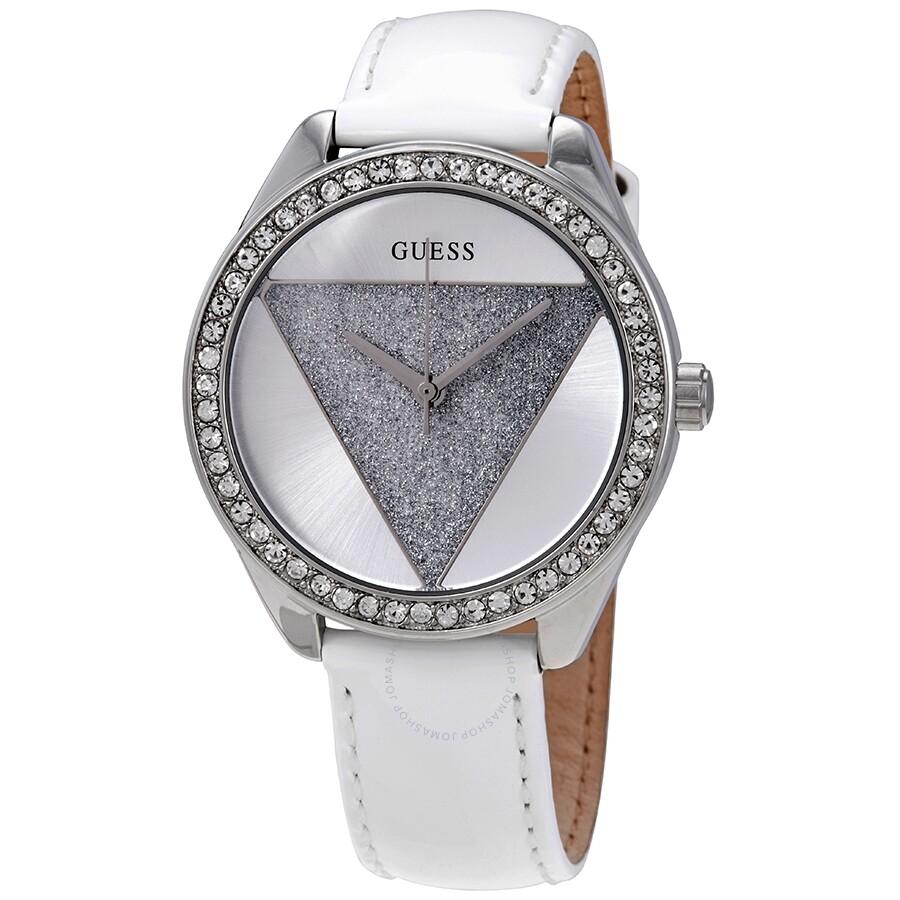 b765d4821f6 Guess Tri- Glitz Quartz Crystal Silver Dial White Leather Ladies Watch  W0884L2 ...