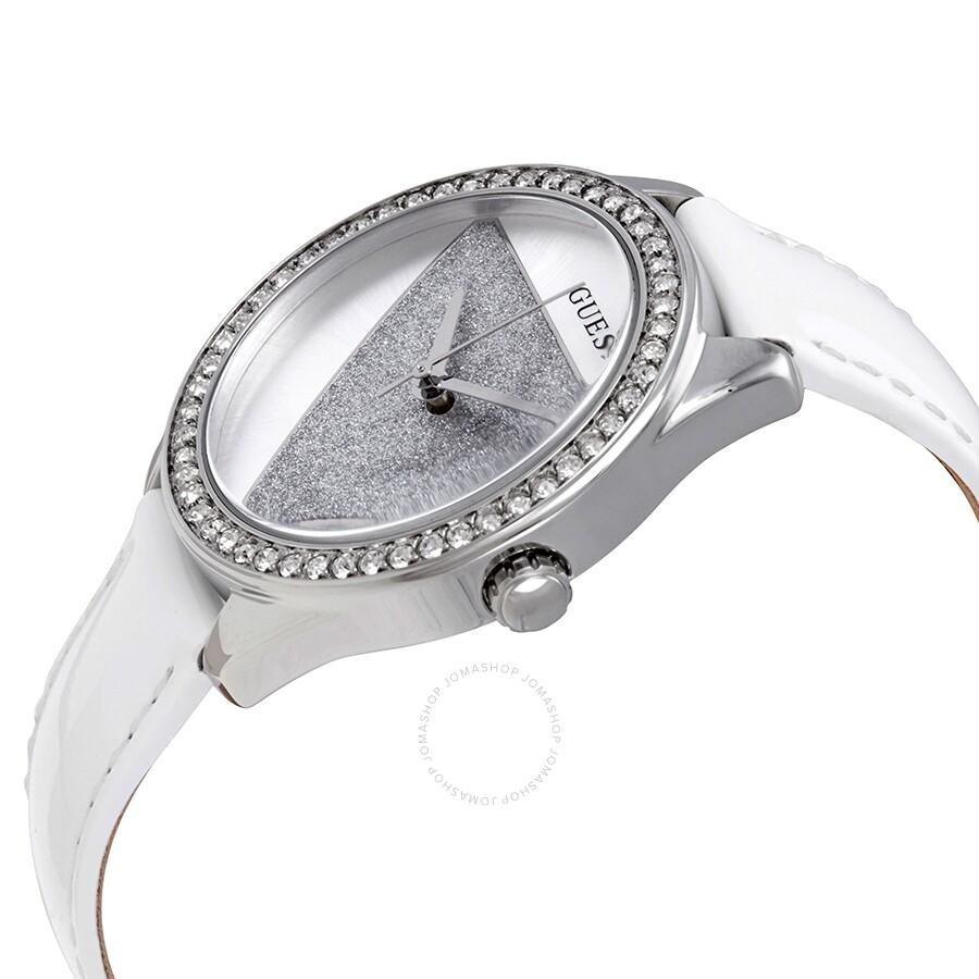 96ffe8c42 ... Guess Tri- Glitz Quartz Crystal Silver Dial White Leather Ladies Watch  W0884L2 ...