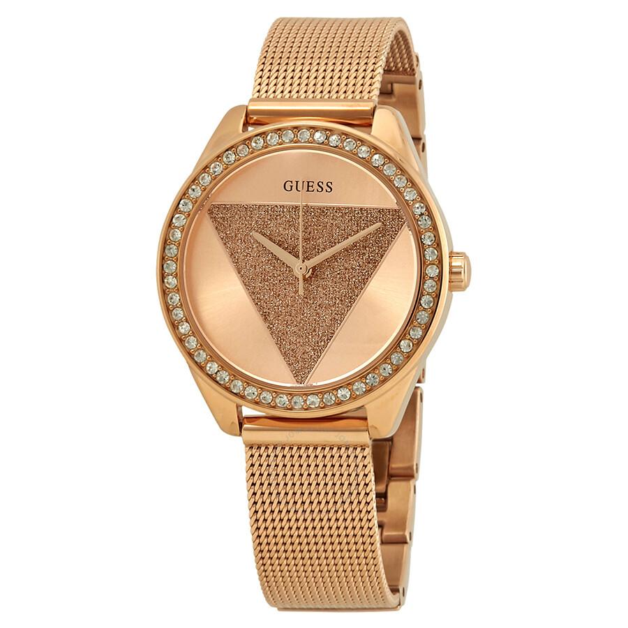 c2af9dd55e Guess Tri Glitz Rose Gold-tone Dial Crystal Ladies Watch W1142L4 ...