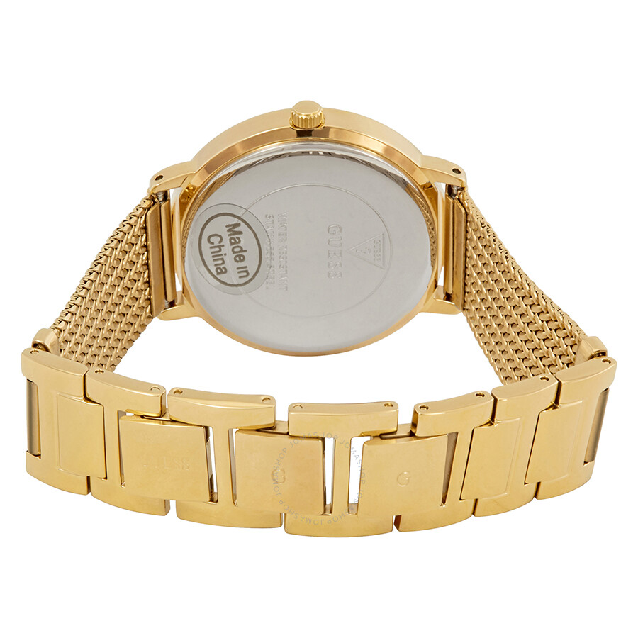Guess Willow Crystal Silver Dial Yellow Gold PVD Ladies ...