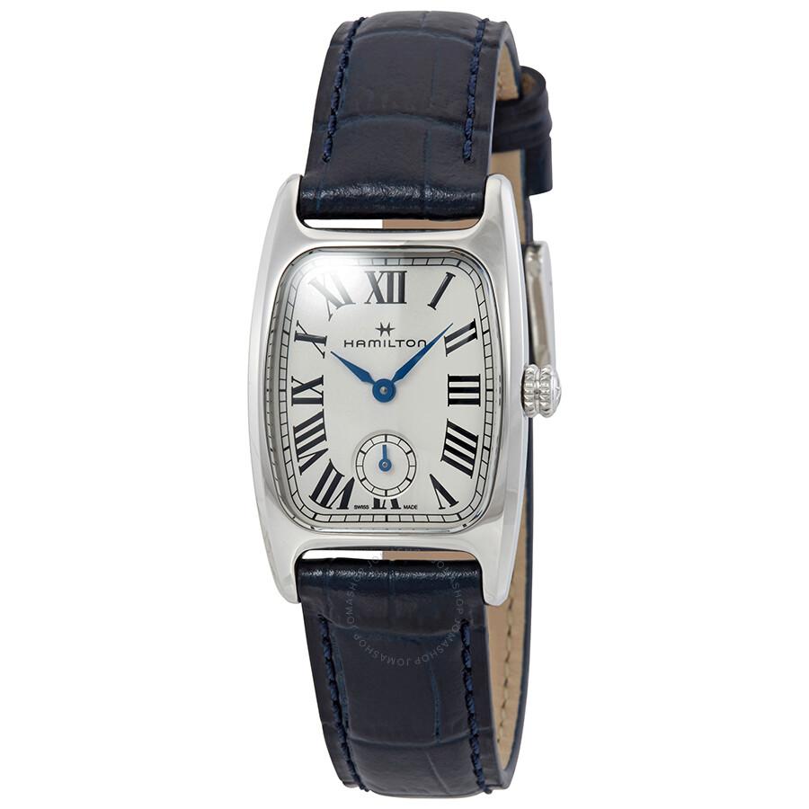 Hamilton Boulton Silver White Dial Blue Leather Ladies Watch H13321611