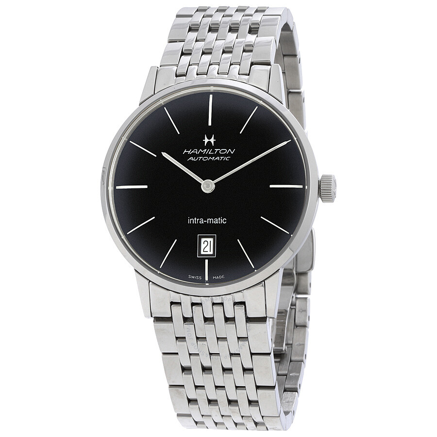 hamilton intra matic automatic black dial men s watch h38455131