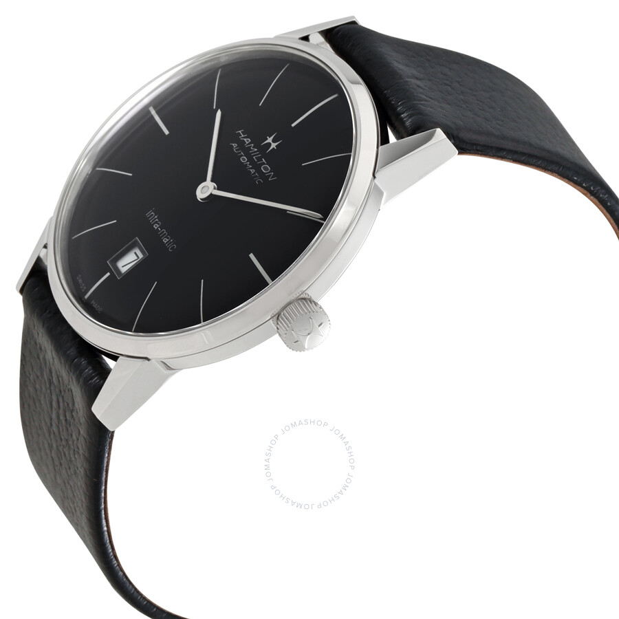 Leather Gmbh Contact Us Email Sales Mail: Hamilton Intra-Matic Black Dial Leather Men's Watch