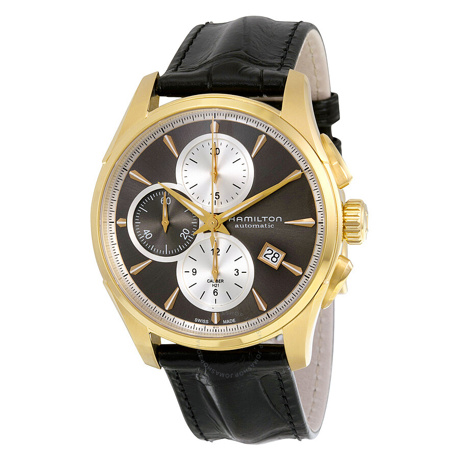 Hamilton Jazzmaster Automatic Chronograph Grey Dial Black Leather Watch  H32546781 ...
