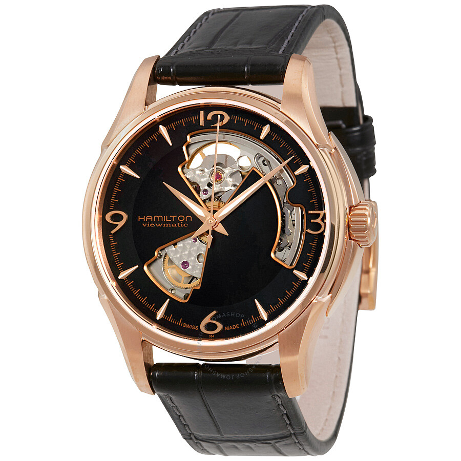 Hamilton Jazzmaster Open Heart Rose Gold Plated Case Automatic Men's Watch  H32575735 ...