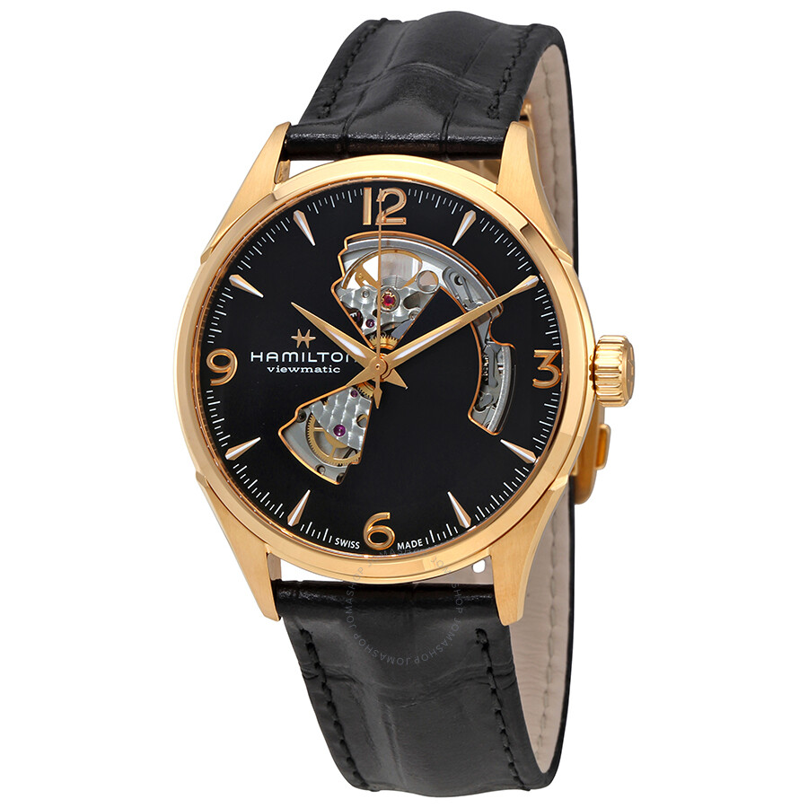 Hamilton Jazzmaster Open Heart Black Dial Automatic Men's Leather Watch  H32735731 ...